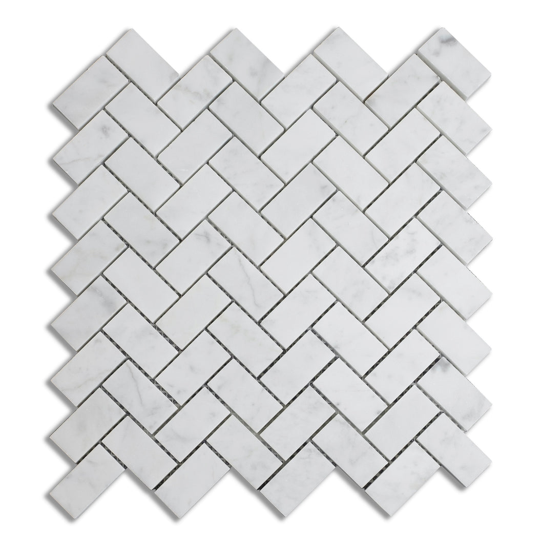 Honed Carrara White 1x2 Herringbone Marble Mosaic