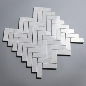 Carrara White 1x3 Herringbone Marble Mosaic (Priced Per Sheet | 1.32 sqft per Sheet)