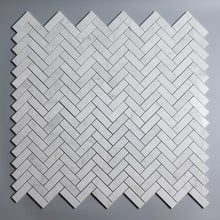 Load image into Gallery viewer, Carrara White 1x3 Herringbone Marble Mosaic (Priced Per Sheet | 1.32 sqft per Sheet)