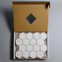 Load image into Gallery viewer, Polished Carrara White 3-in Hexagon Marble Mosaic