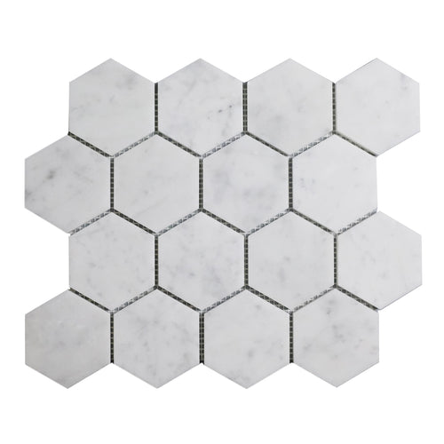 Honed Carrara White 3-in Hexagon Marble Mosaic