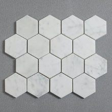 Load image into Gallery viewer, Honed Carrara White 3-in Hexagon Marble Mosaic