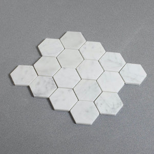 Polished Carrara White 3-in Hexagon Marble Mosaic