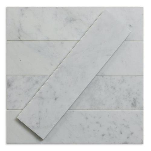 Carrara White 3x12 Marble Subway Tile (Priced Per 1 Sqft)