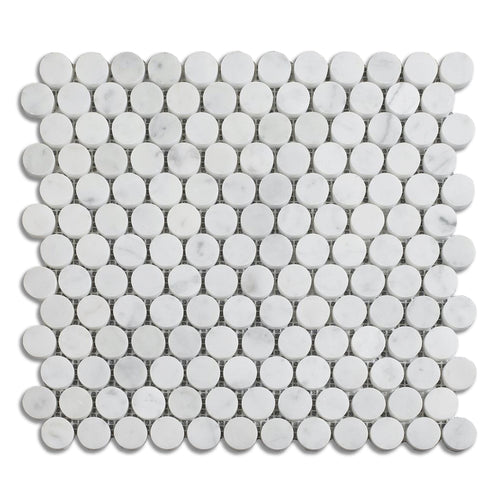 Honed Carrara White Penny Round Marble Mosaic
