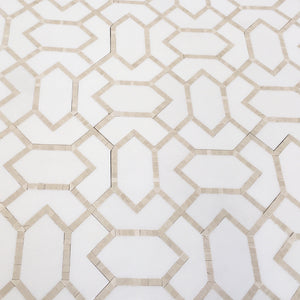 Beige Diamond - Thassos, Crema Marfil Marble Water-Jet Mosaic (Priced: 1 SHEET | 0.87 SQFT)