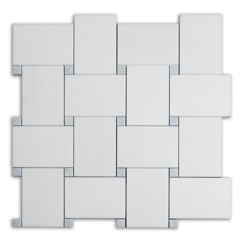 Thassos Bold Basketweave Marble Mosaic (Priced Per Sheet | 0.8 sqft)