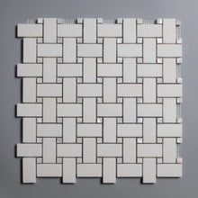 Load image into Gallery viewer, White on White Thassos Basketweave with MOP Dots (Priced Per Sheet | 1 sqft)