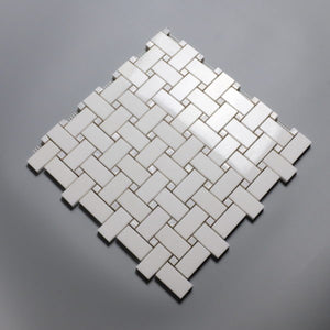 White on White Thassos Basketweave with MOP Dots (Priced Per Sheet | 1 sqft)