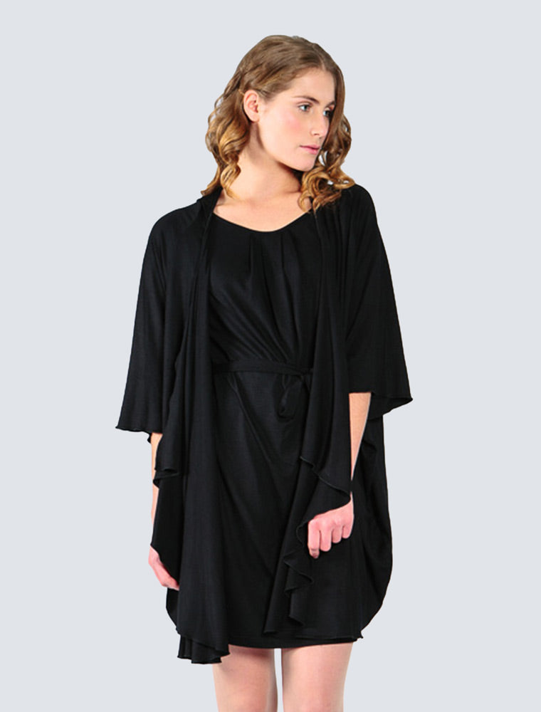 Black jersey cardigan front detail by LILLE Clothing