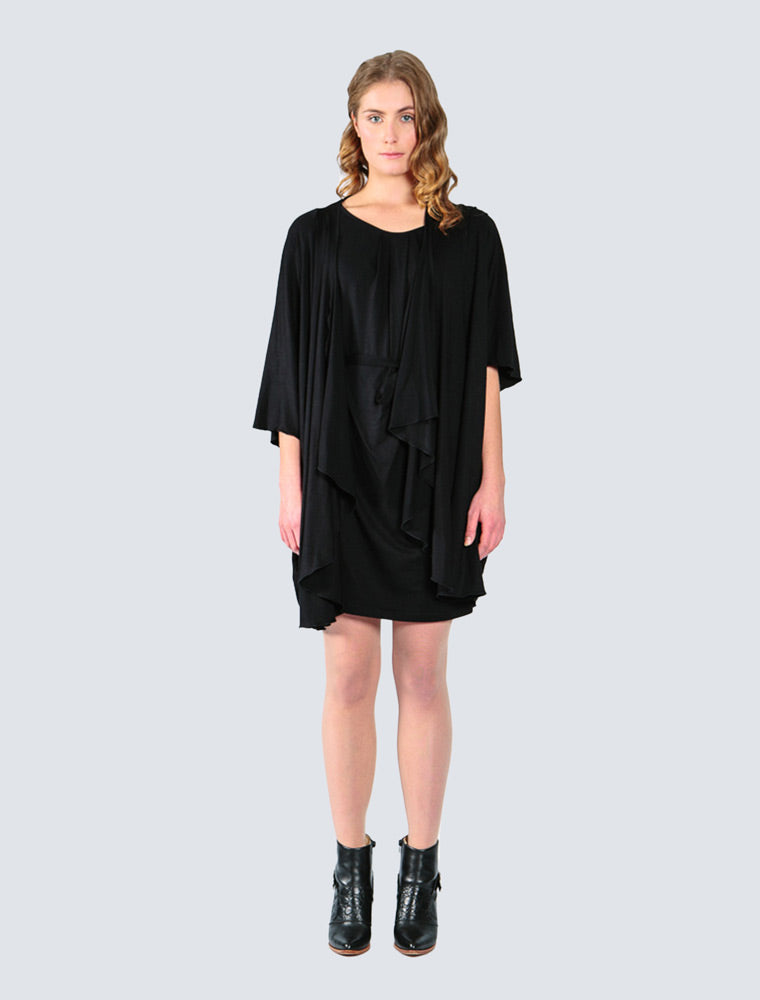 Black jersey cardigan front by LILLE Clothing