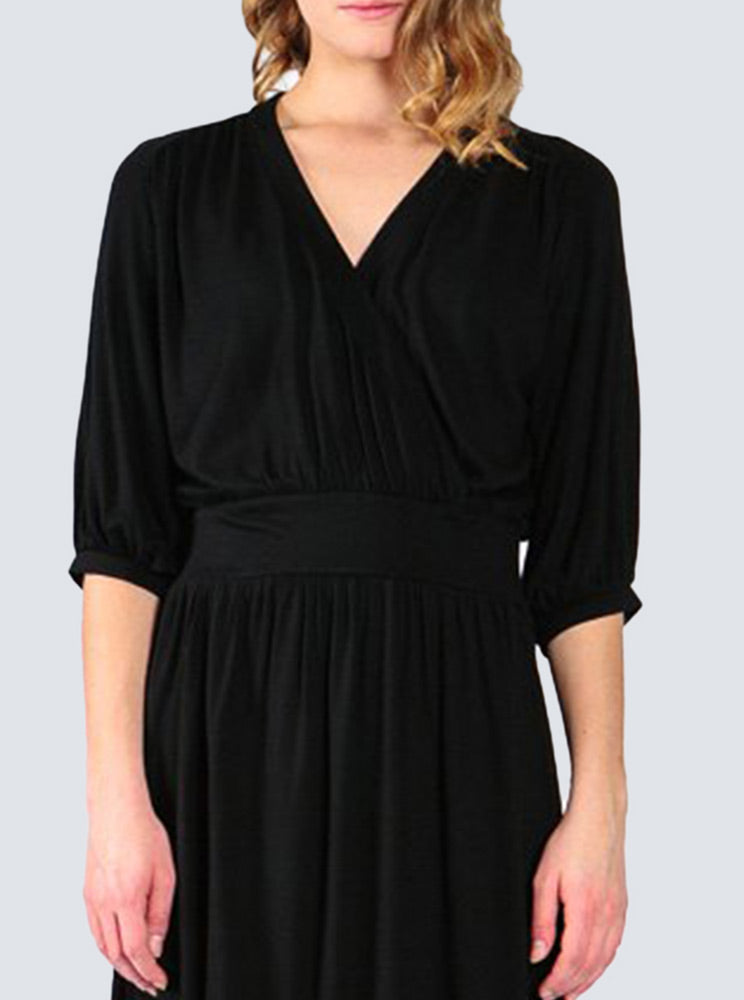 Black jersey dress front detail by LILLE Clothing