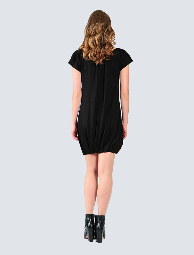 Black jersey dress back by LILLE Clothing