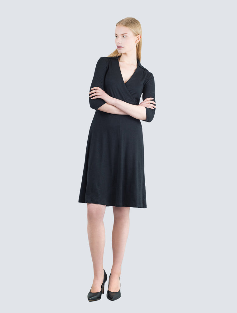 Black jersey dress front by LILLE Clothing