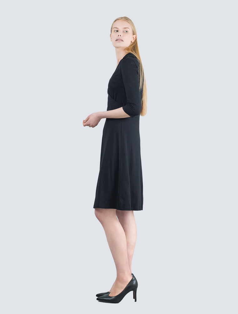 Black jersey dress side by LILLE Clothing