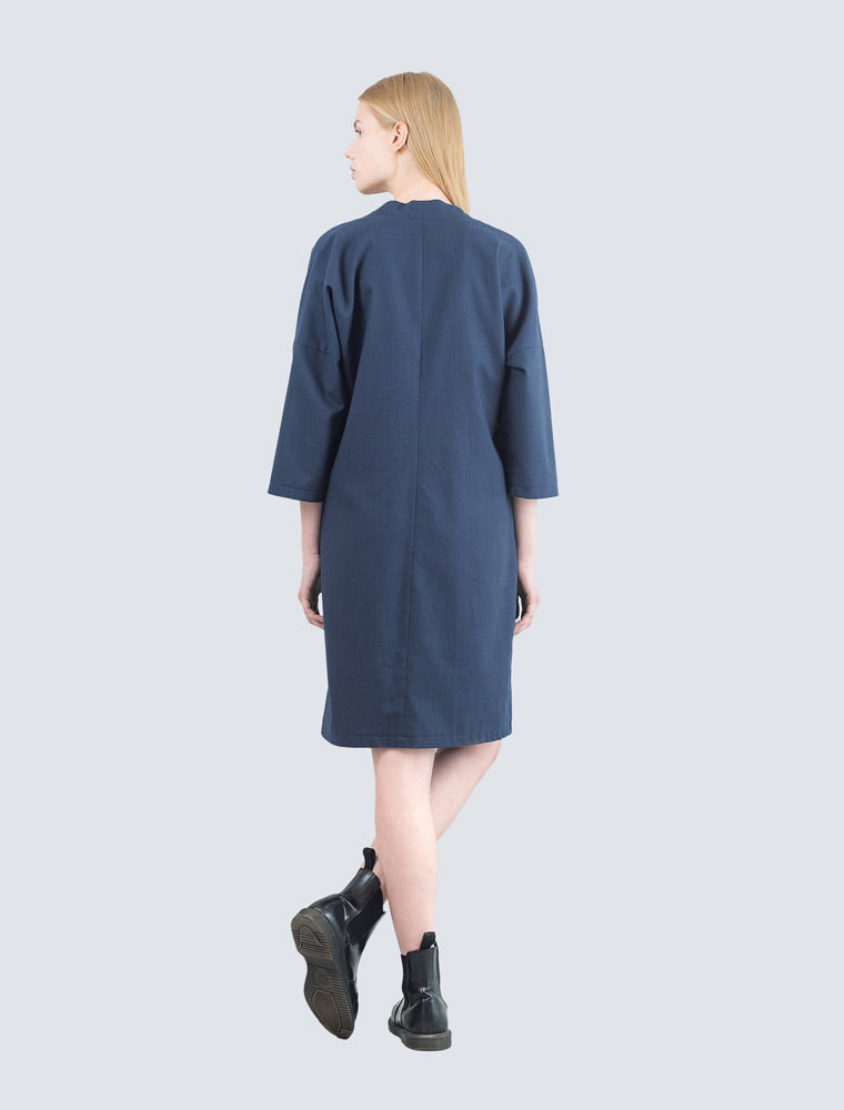 Navy blue dress back by LILLE Clothing