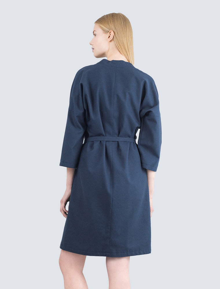 Navy blue dress back with belt by LILLE Clothing