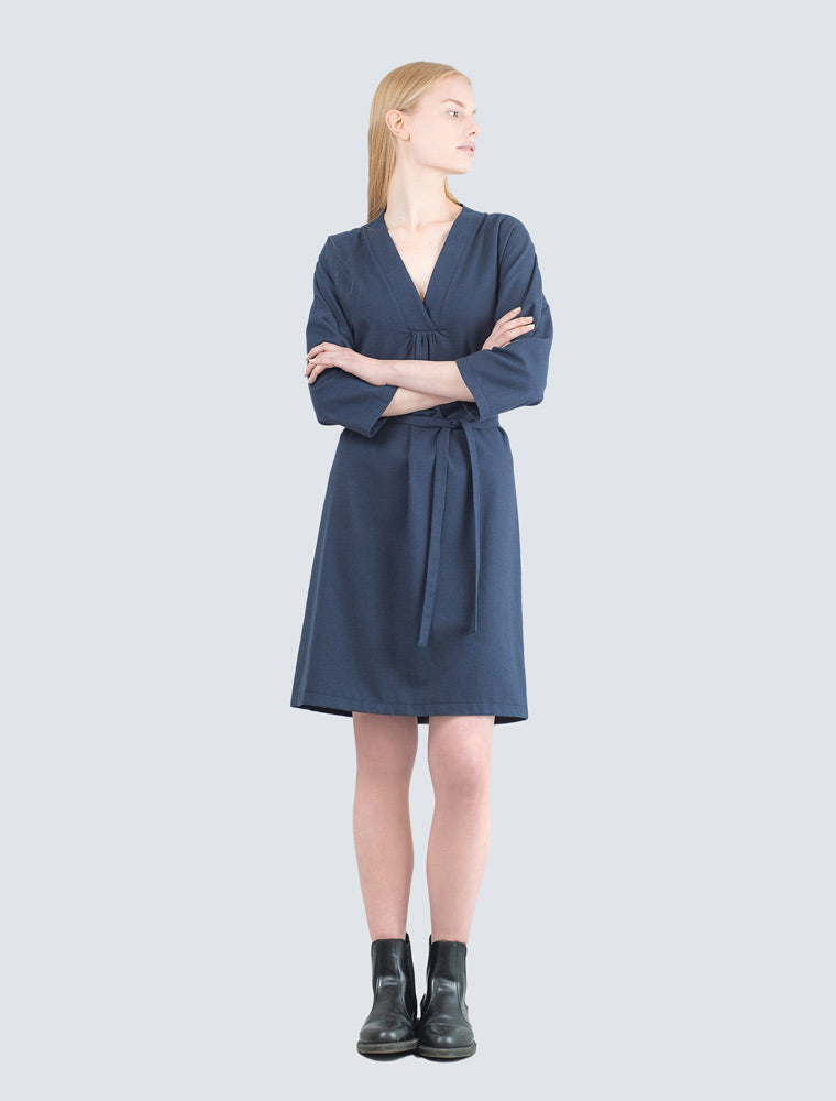 Navy blue dress front by LILLE Clothing