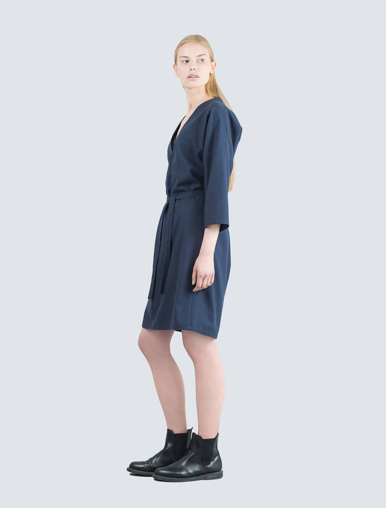 Navy blue dress side by LILLE Clothing