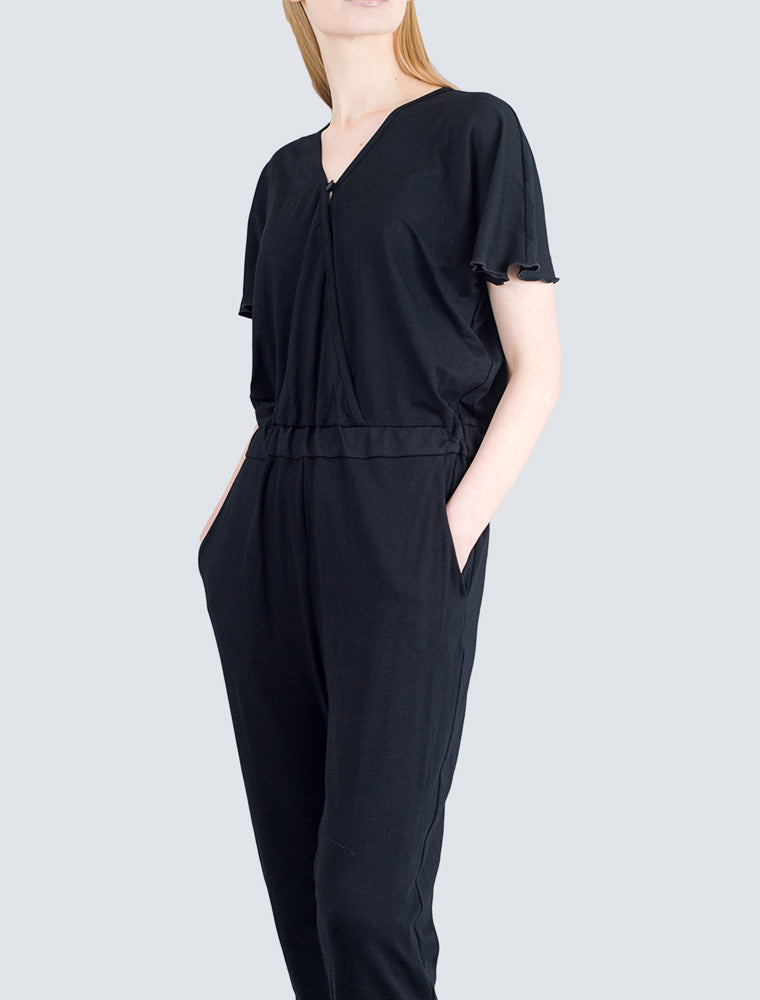 Black jersey overall front detail by LILLE Clothing