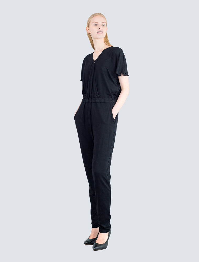Black jersey overall front by LILLE Clothing