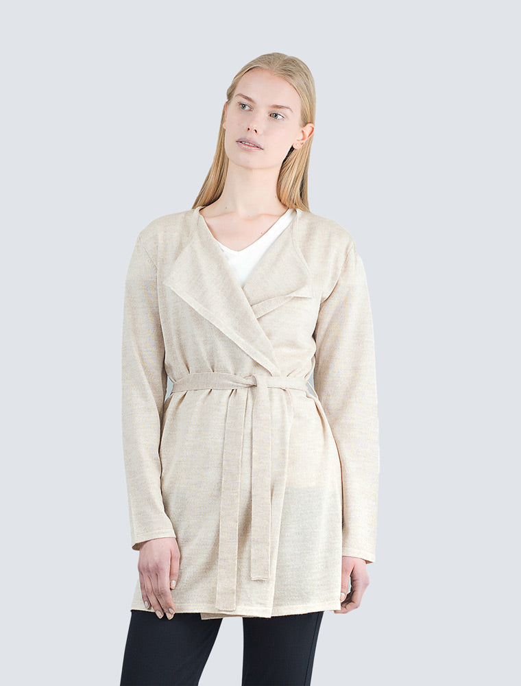 Sand colored long wool cardigan front detail by LILLE Clothing