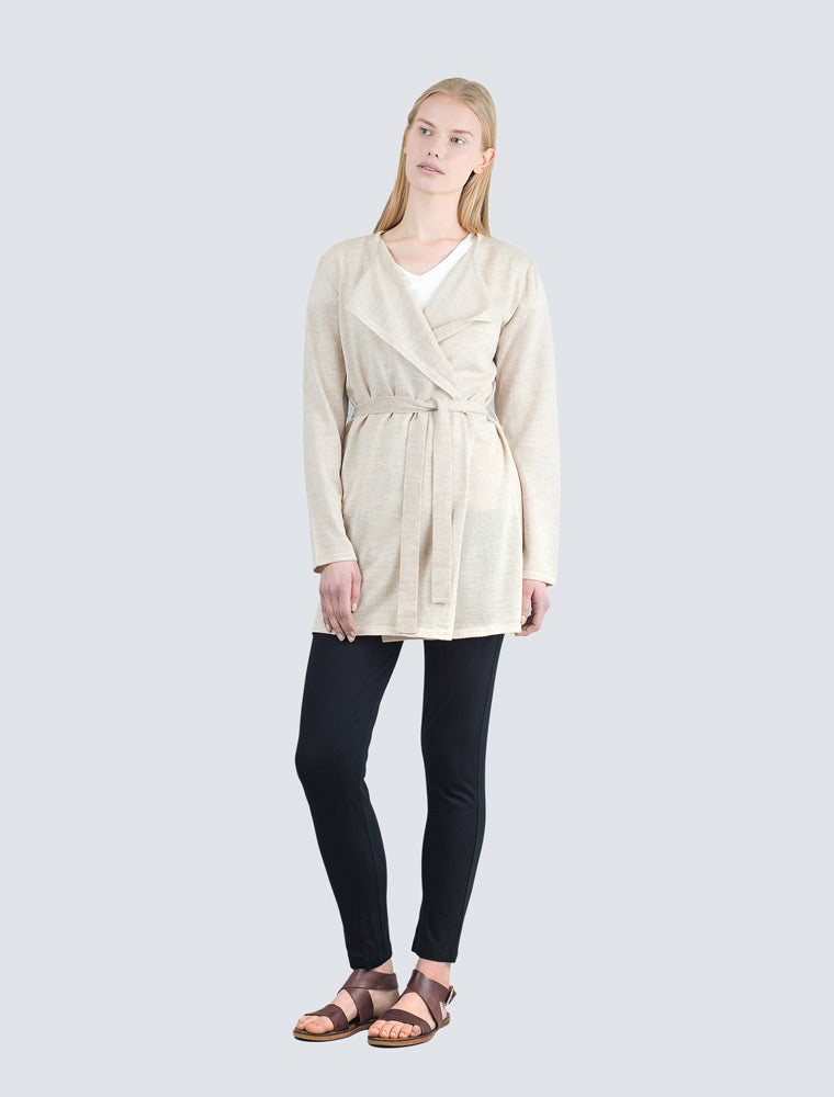 Sand colored long wool cardigan front by LILLE Clothing