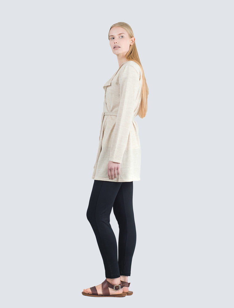 Sand colored long wool cardigan side by LILLE Clothing