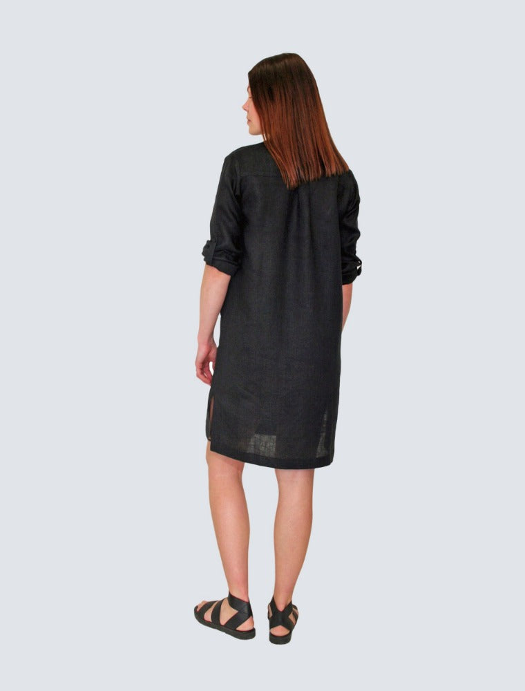 Black linen shirt dress back by LILLE Clothing