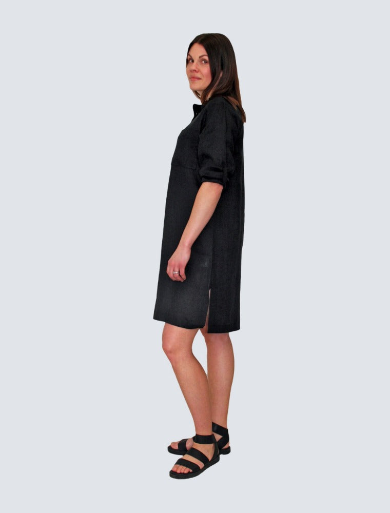Black linen shirt dress side by LILLE Clothing