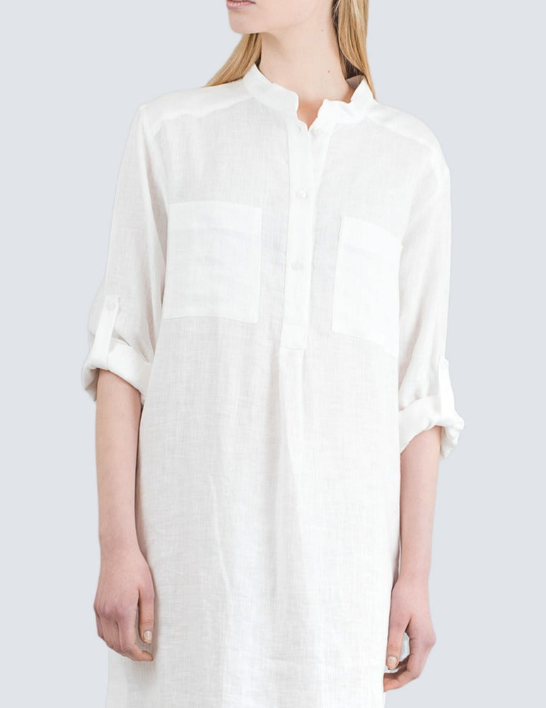 White linen shirt dress front detail by LILLE Clothing