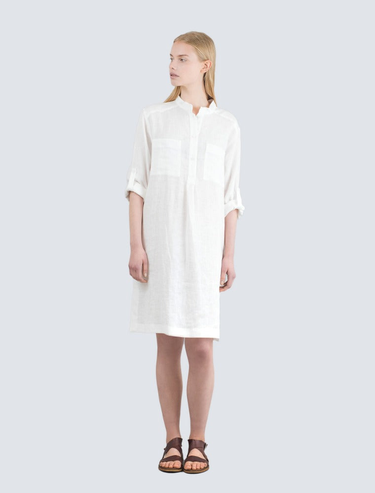 White linen shirt dress front by LILLE Clothing