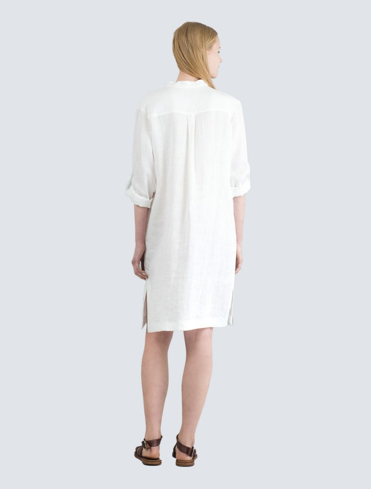 White linen shirt dress back by LILLE Clothing
