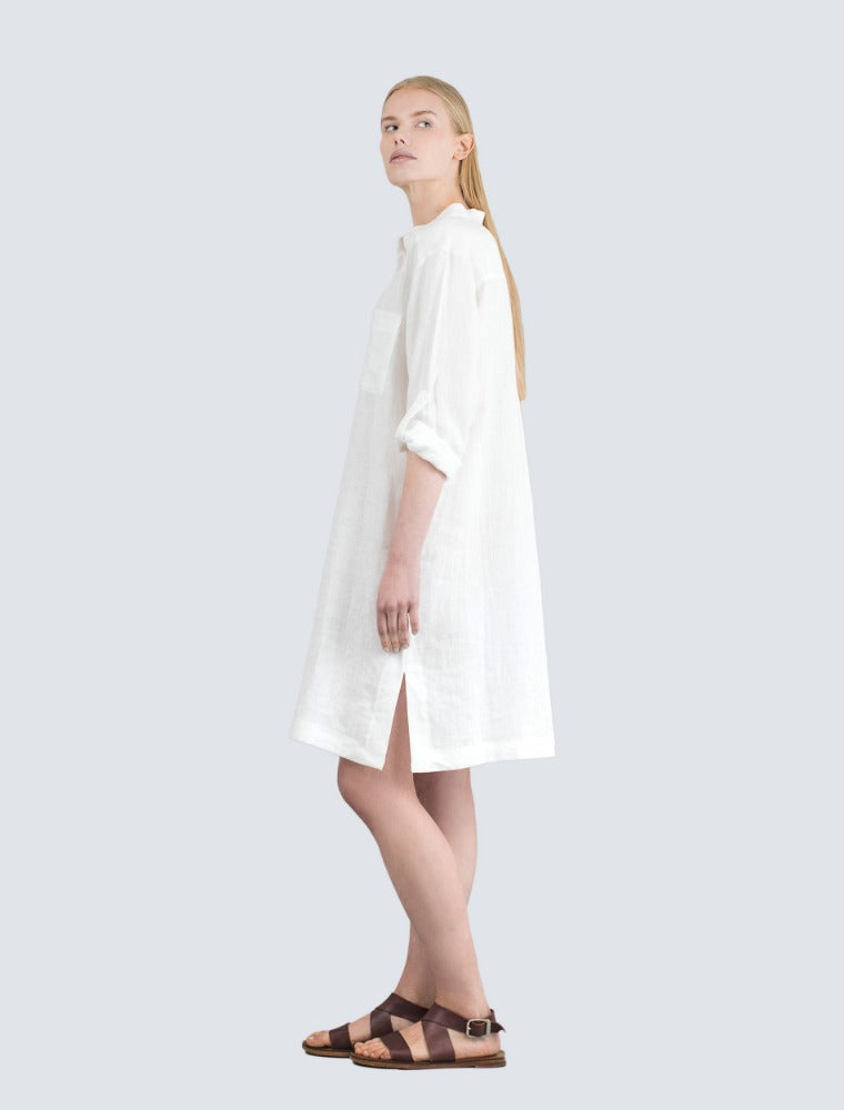 White linen shirt dress side by LILLE Clothing