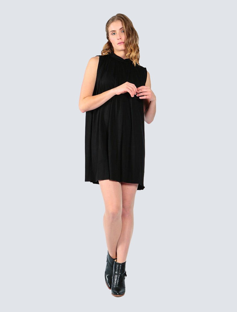Loose-fitted black jersey dress with pleated details by LILLE