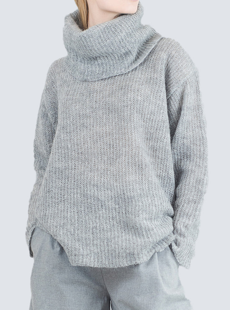 Grey oversized pullover with large roll-neck by LILLE