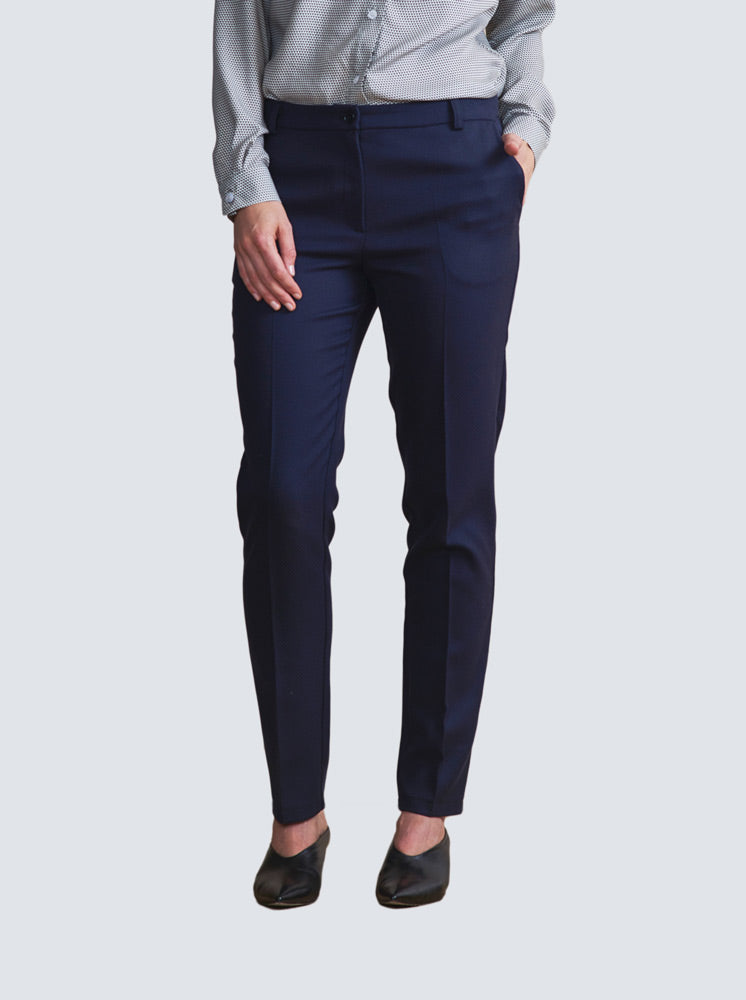 Navy blue fitted trousers with side pockets by LILLE