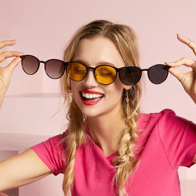 clip on sunglasses for women, prescription glasses with 3  colorful sunglasses lenses | power-jh