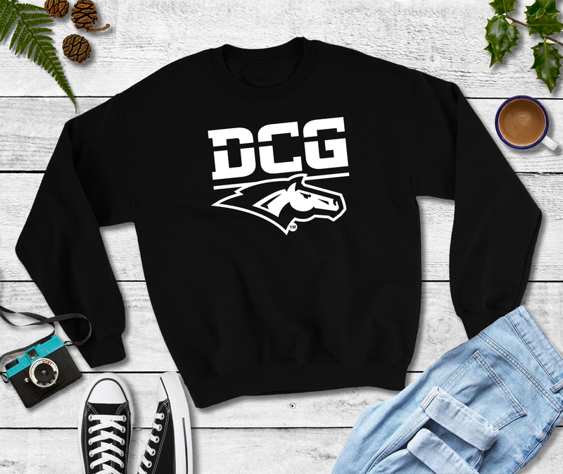DCG MONOGRAM W/HEAD ON BLACK CREWNECK