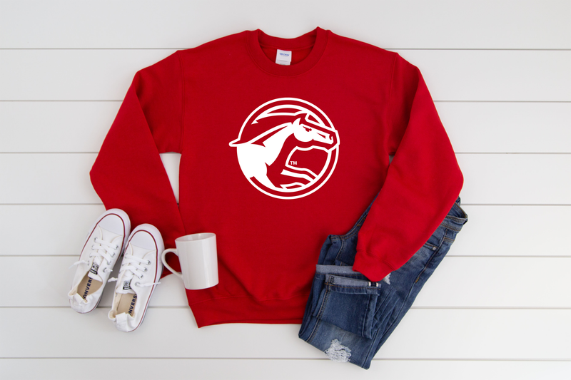 CIRCLE LOGO ON RED CREWNECK