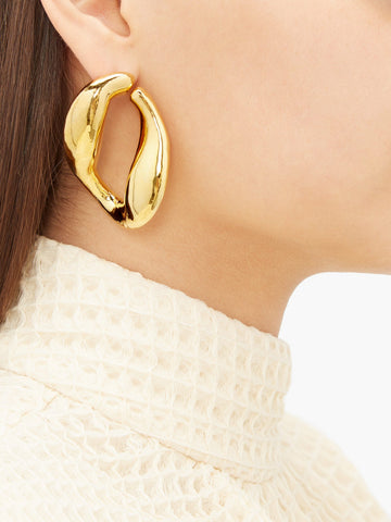 MISHO  Chunky Chain gold-plated hoop earrings Matches Fashion