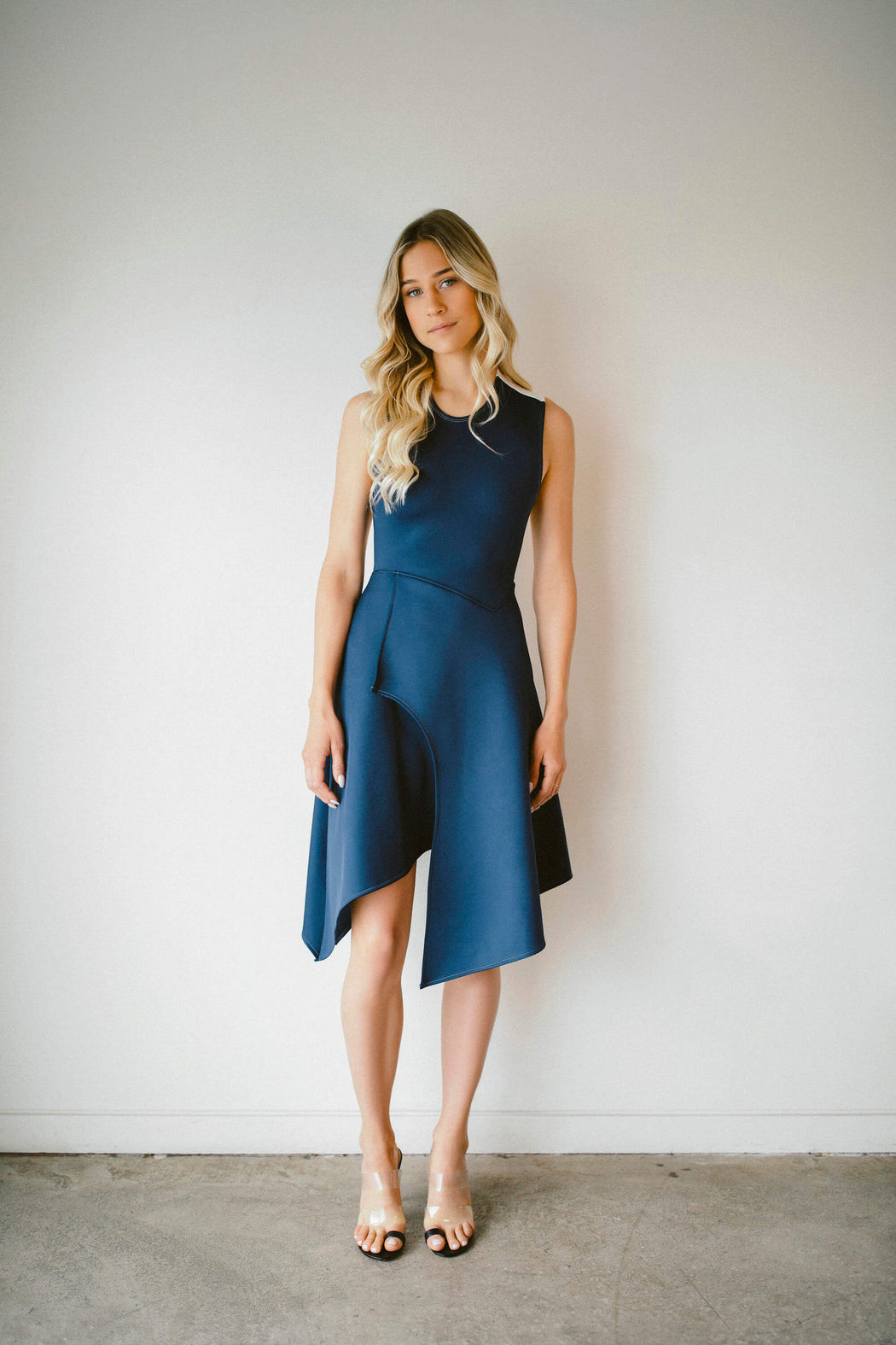 THE CROSS-BACK DRESS IN BLUE
