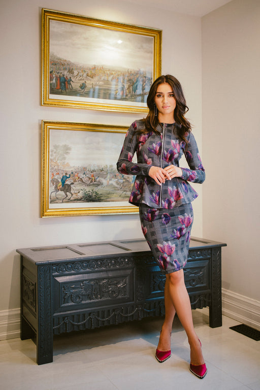 ALESSANDRA PEPLUM JACKET IN FLORAL CHECK