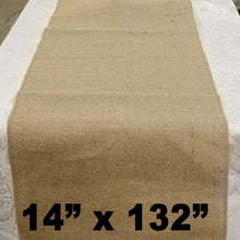 "Load image into Gallery viewer, Burlap Table Runner 14"" x 132"""