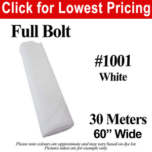 "#1001 White Broadcloth Full Bolt (60"" Wide x 30 Meters)"