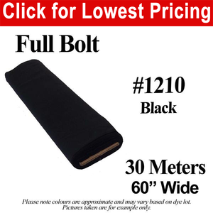 "#1210 Black Broadcloth Full Bolt (60"" Wide x 30 Meters)"