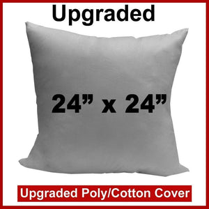 "Pillow Form 24"" x 24"" (Polyester Fill) - Premium Fabric Cover"