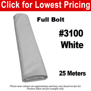 "#3100 White 60"" Wide Polyester Lining Full Bolt (25 Meters)"