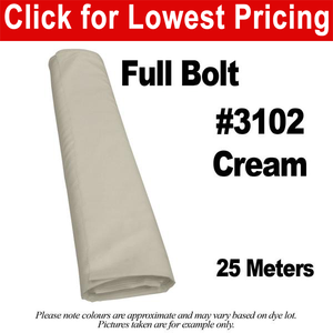 "#3102 Cream 60"" Wide Polyester Lining Full Bolt (25 Meters)"