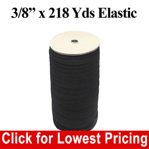 "3/8"" Black Elastic Roll (218 Yards)"